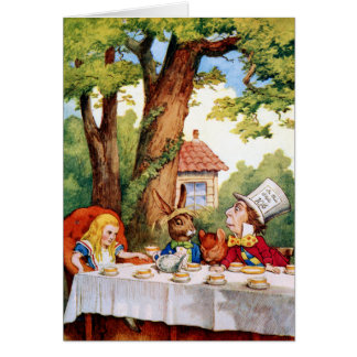 Alice at the Mad Hatter's Tea Party in Wonderland Greeting Card