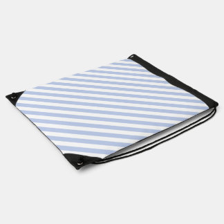 Alice Blue Tent Stripe in English Country Garden Drawstring Backpacks