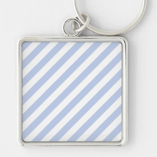 Alice Blue Tent Stripe in English Country Garden Silver-Colored Square Key Ring