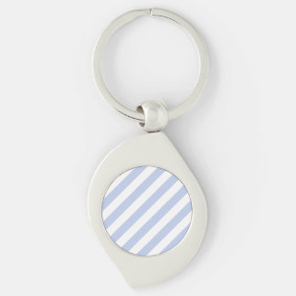 Alice Blue Tent Stripe in English Country Garden Silver-Colored Swirl Key Ring