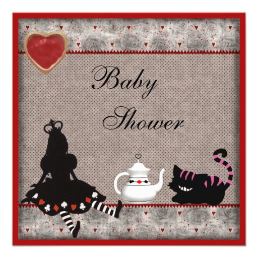 Alice & Cheshire Cat Baby Shower Tea Party Invites