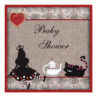 "Alice & Cheshire Cat Baby Shower Tea Party Invites 5.25"" Square Invitation Card"