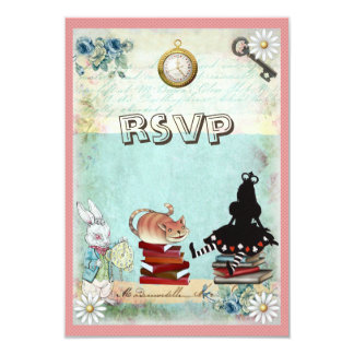 Alice & Cheshire Cat RSVP Bring a Book Baby Shower 9 Cm X 13 Cm Invitation Card