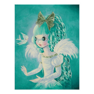 """Alice"" ~ Cute Big Eyed Blue Angel Poster"