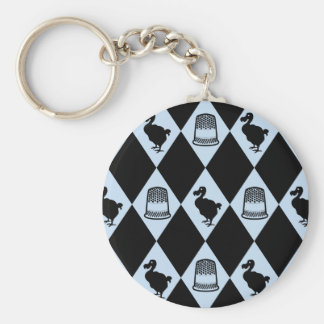Alice Dodo and Thimble Pattern Basic Round Button Key Ring