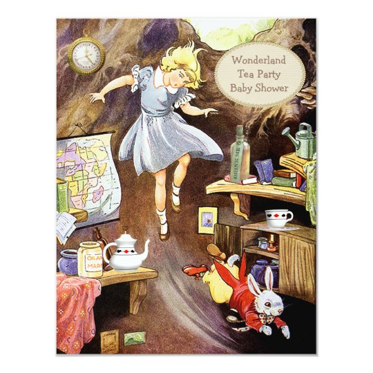 Alice Down the Rabbit Hole Wonderland Baby Shower Card