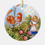 Alice Encounters Talking Flowers in Wonderland Round Ceramic Decoration