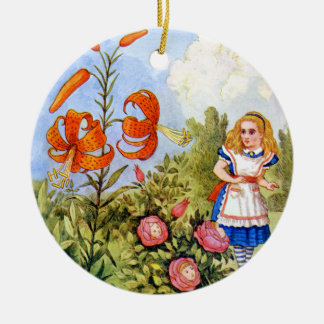 Alice Encounters Talking Flowers in Wonderland Round Ceramic Decoration