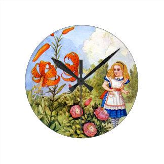 Alice Encounters Talking Flowers in Wonderland Round Clock