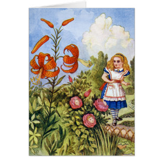 ALICE ENCOUNTERS THE TALKING FLOWERS GREETING CARD