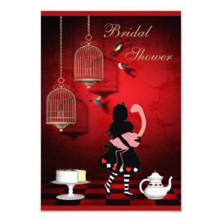 Alice & Flamingo Birds & Cages Bridal Shower 9 Cm X 13 Cm Invitation Card