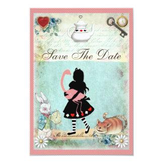 Alice, Flamingo & Cat Save the Date Wedding 9 Cm X 13 Cm Invitation Card