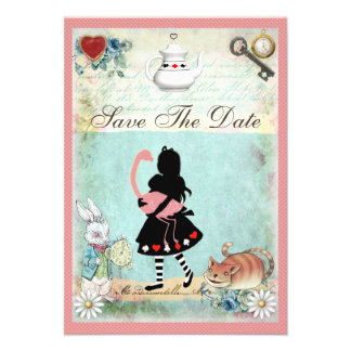 Alice Flamingo Cat Save the Date Wedding Personalized Invitations