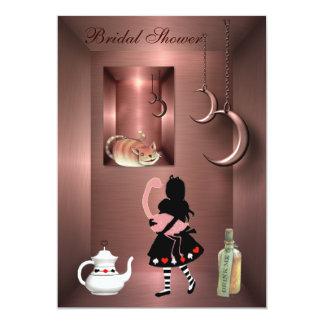 Alice, Flamingo & Cheshire Cat Bridal Shower 13 Cm X 18 Cm Invitation Card