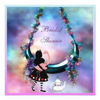 Alice & Flamingo Hanging Moon  Bridal Shower 13 Cm X 13 Cm Square Invitation Card