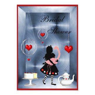 Alice & Flamingo Hearts Bridal Shower Tea Party 13 Cm X 18 Cm Invitation Card