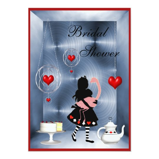 Alice & Flamingo Hearts Bridal Shower Tea Party Card