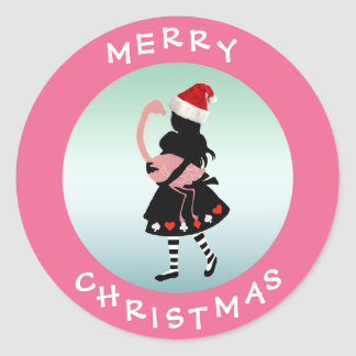 Alice & Flamingo Pink Christmas Stickers