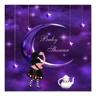 Alice & Flamingo Purple Moon Baby Shower Personalized Invite