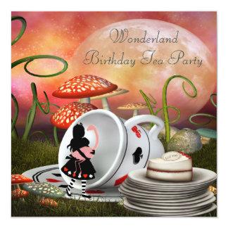 Alice & Flamingo Wonderland Birthday Party 13 Cm X 13 Cm Square Invitation Card