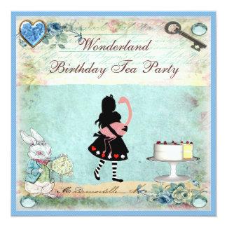 Alice & Flamingo Wonderland Birthday Tea Party 13 Cm X 13 Cm Square Invitation Card