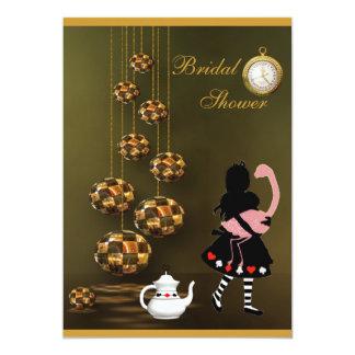 Alice & Flamingo Wonderland Bridal Shower 13 Cm X 18 Cm Invitation Card