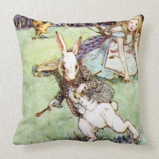 Alice Follows the White Rabbit to Wonderland Throw Pillow