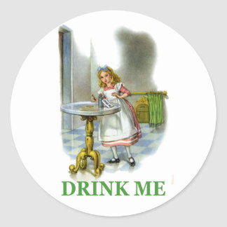 "Alice Found a Key by a Bottle That Said ""Drink Me"" Classic Round Sticker"