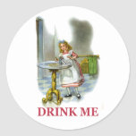 """Alice Found a Key by a Bottle That Said """"Drink Me"""" Round Sticker"""