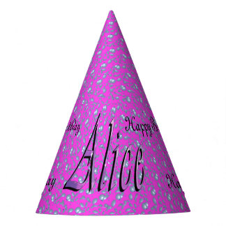 Alice, Happy Birthday, Pink Paper Party Hat. Party Hat