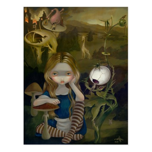 """Alice in a Bosch Landscape"" Postcard"