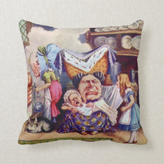 Alice in the Duchess' Kitchen with the Pig Baby Throw Pillow