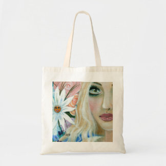 Alice in the Garden of Live Flowers Tote Bags