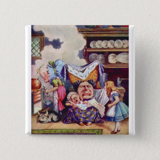 Alice in The Kitchen with the Duchess and Pig Baby 15 Cm Square Badge