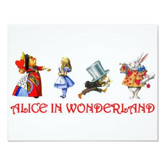 ALICE IN WONDERLAND 11 CM X 14 CM INVITATION CARD