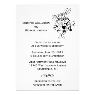 Alice In Wonderland 2 Black White Modern Wedding Personalized Announcement