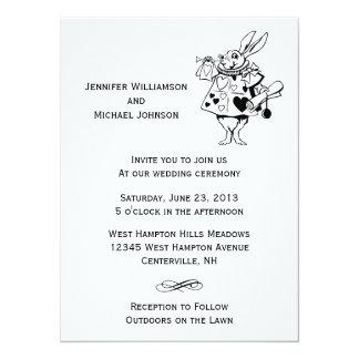 """Alice In Wonderland #2 Black White Modern Wedding 5.5"""" X 7.5"""" Invitation Card"""