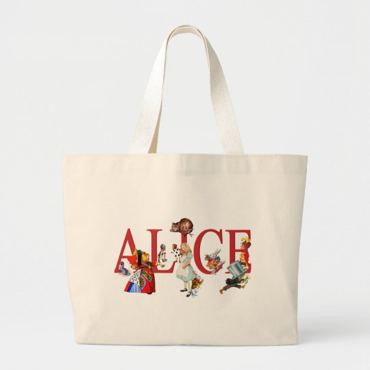 ALICE IN WONDERLAND AND FRIENDS LARGE TOTE BAG