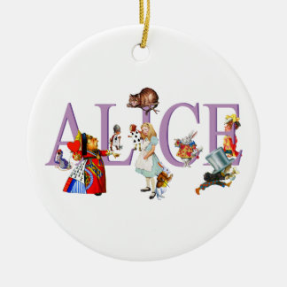 Alice in Wonderland and Friends Round Ceramic Decoration