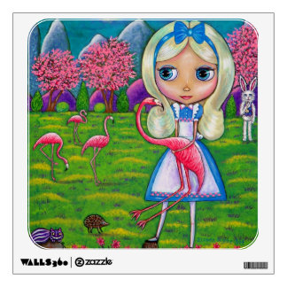 Alice in Wonderland and Pink Flamingos Big Eye Art