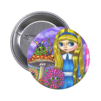 Alice in Wonderland and the Caterpillar Button