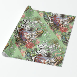 Alice in Wonderland and the Flying Cards Wrapping Paper