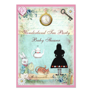 Alice in Wonderland Baby Girl Shower Tea Party 13 Cm X 18 Cm Invitation Card