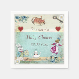 Alice in Wonderland Baby Shower Personalized Disposable Napkin