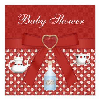 """Alice in Wonderland Baby Shower Tea Party Red 5.25"""" Square Invitation Card"""