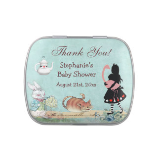 Alice in Wonderland Baby Shower Thank You Favor Jelly Belly Candy Tin