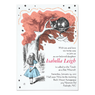 Alice In Wonderland Bat Mitzvah Invitation Invite