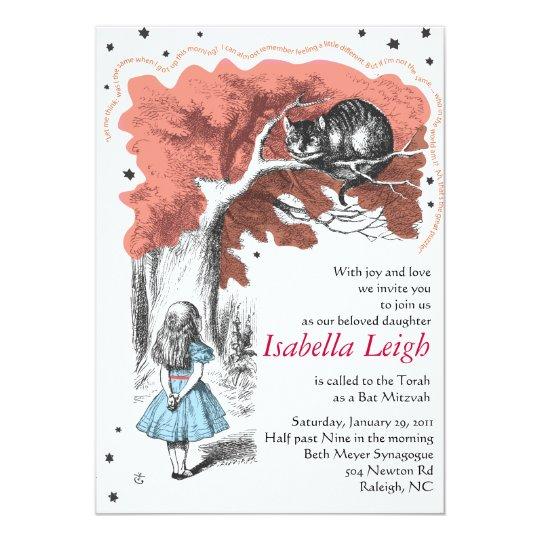 Alice In Wonderland Bat Mitzvah Invitation Invite