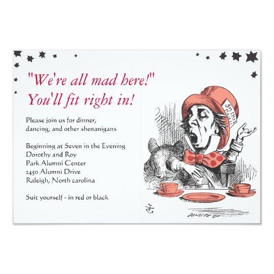 Alice In Wonderland Bat Mitzvah Party Card