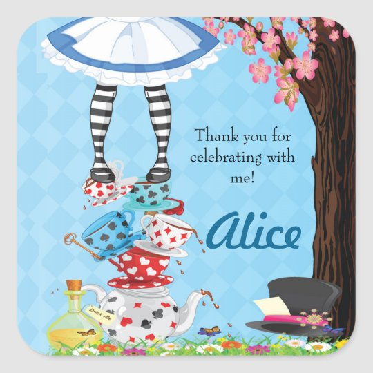 Alice in Wonderland Birthday Favour Stickers